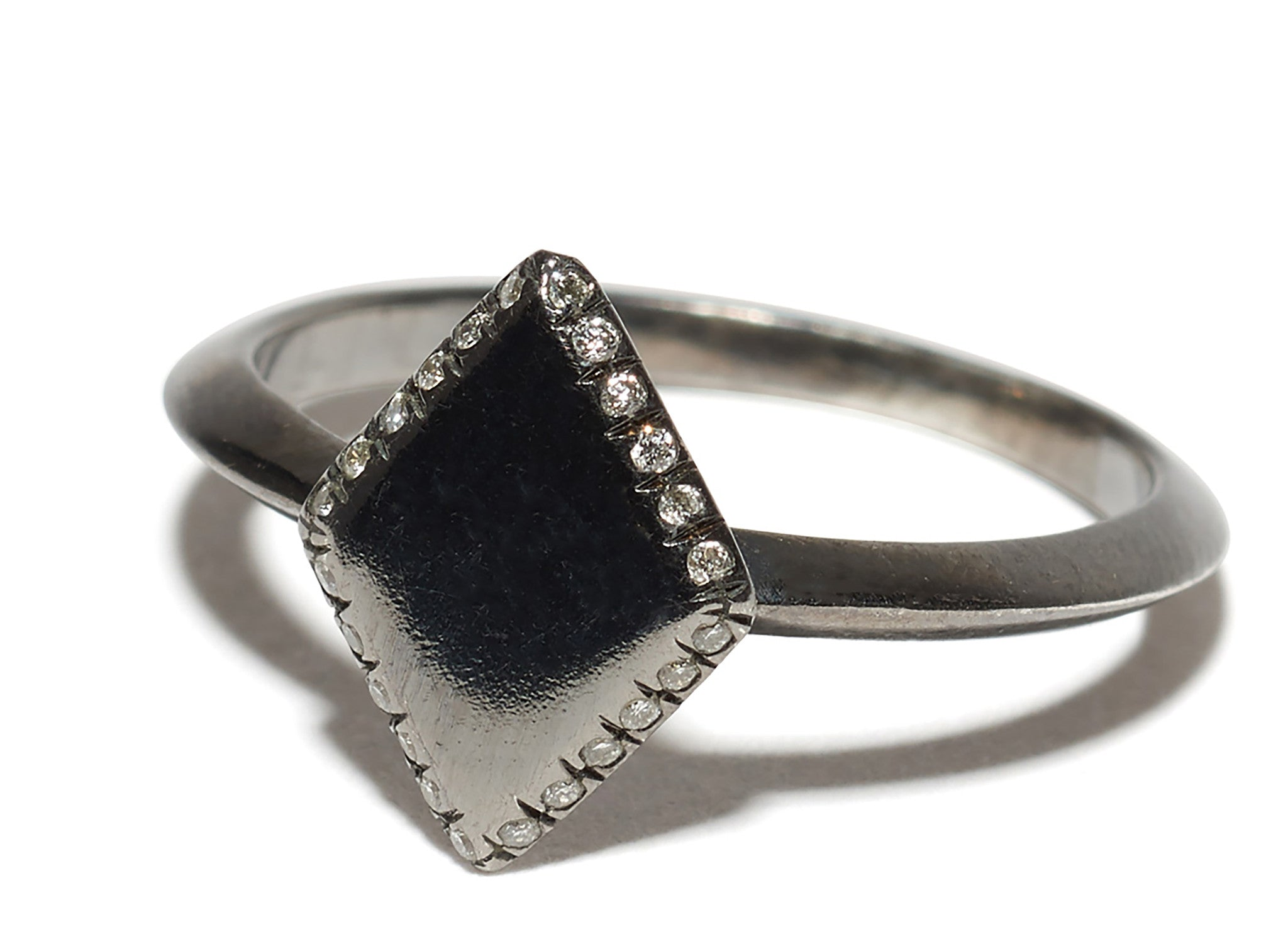 Micro Pave Edge Diamond Shape Engraved Initial Monogram Ring Wendy Nichol handmade in NYC