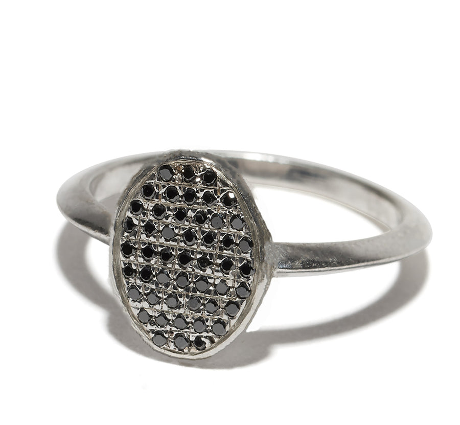 Micro Pave Diamonds Face Oval Shape Ring Wendy Nichol Fine Jewelry Designer Handmade in NYC solid 14k Gold Yellow Rose White Black White Diamonds Alien UFO Space Orbit Knife Edge Band Pave Diamond Circle