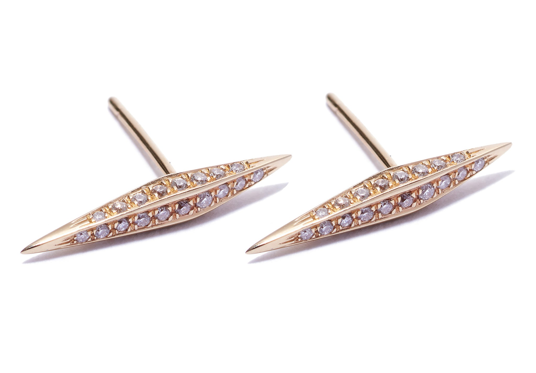 Micro Pave Diamond Thin DT Pyramid Spike Stud Earrings Wendy Nichol Earrings fine jewelry designer delicate simple spike double terminating 14k Gold White Diamonds Black Diamonds