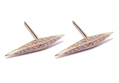 Micro Pave Diamond Thin DT Pyramid Spike Stud Earrings Wendy Nichol Earrings fine jewelry designer delicate simple spike double terminating 14k Gold White Diamonds Black Diamonds Handmade in NYC New York City Diamond daggers swords spikes First Second Ear Piercing Lower Upper Lobe Helix Cartilage Snug