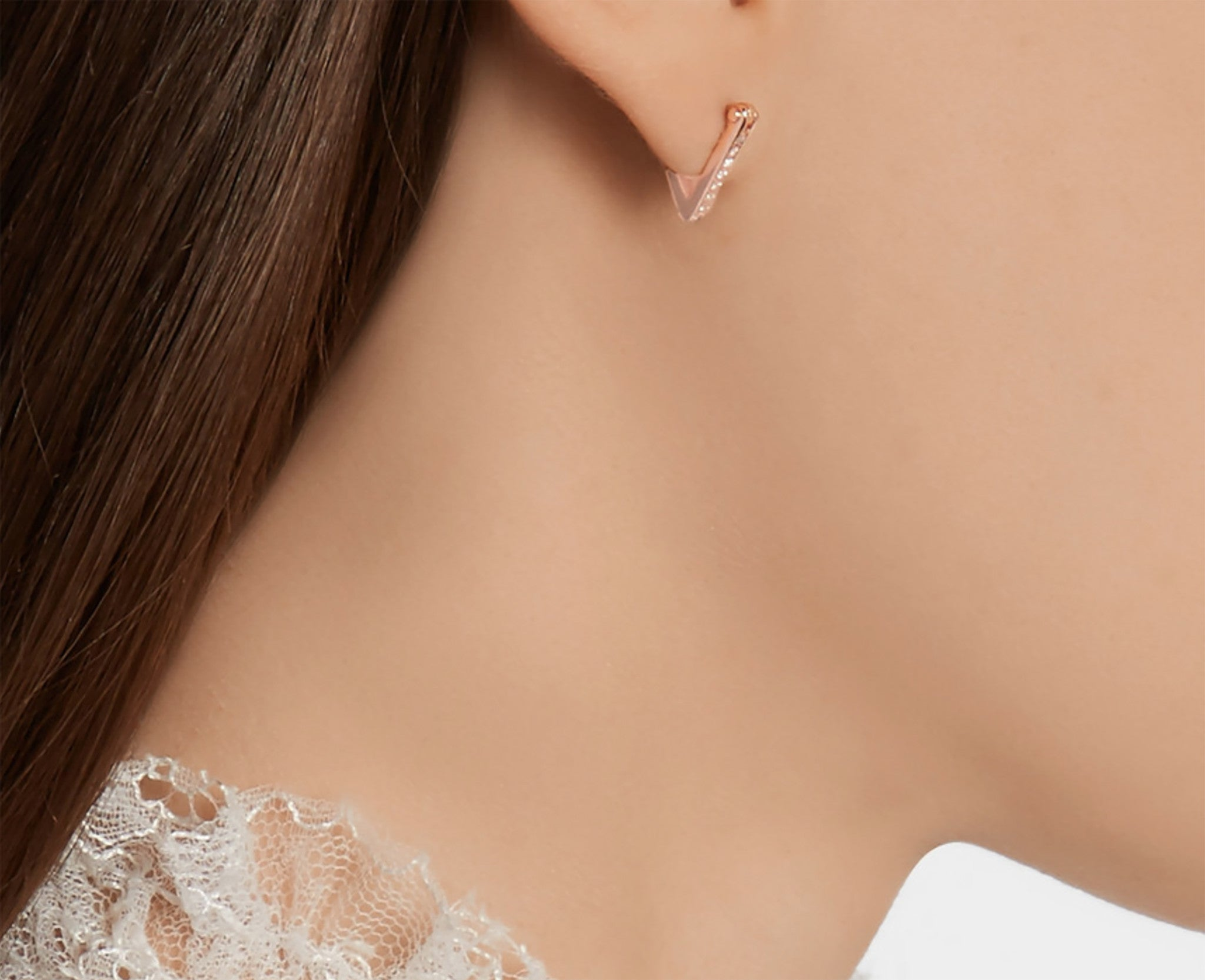 Micro Pave Diamonds Triangle Hoop Earrings Wendy Nichol fine jewelry designer 14k Gold Yellow Rose White Diamonds Black Diamonds V shape ear hugging simple delicate Hoops Handmade in NYC New York City First Second Ear Piercing Lower Lobe Upper Lobe Nose