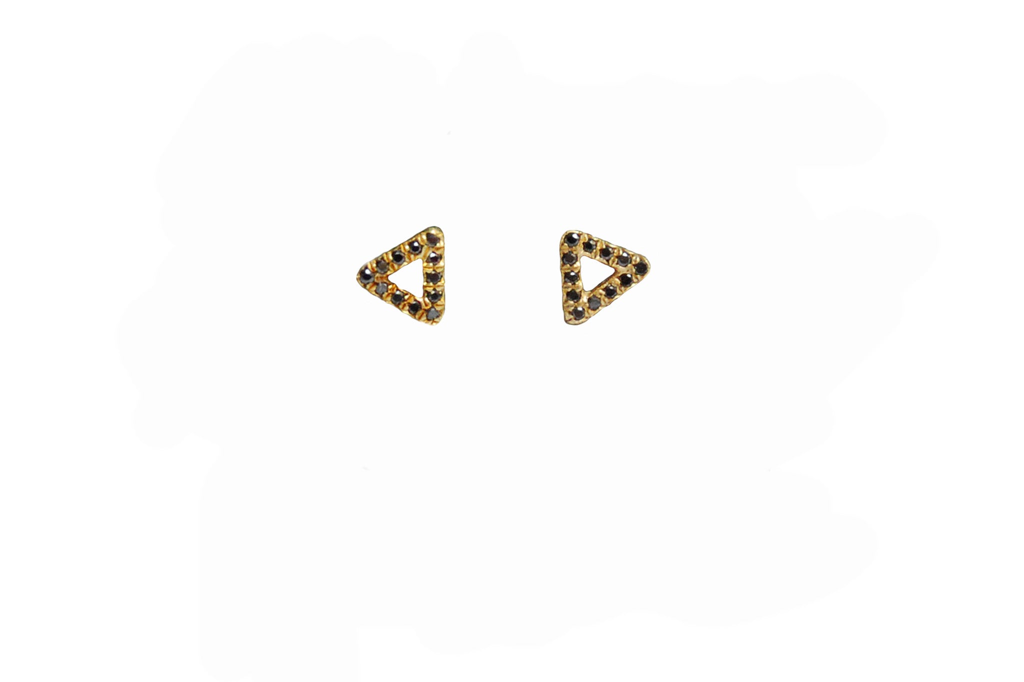 Micro Pave Diamonds Triangle Outline Stud Earrings Wendy Nichol Fine Jewelry Designer Delicate Petite Simple Micro Pave White or Black Diamonds 14k Gold Yellow Rose White Handmade in NYC New York City Triangle First Second Ear Piercing Snug Helix Cartilage diamond stud earring