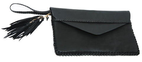 Black Leather Midnight Rider Clutch Envelope Flap Simple Pouch Wendy Nichol Handbag Purse Designer Handmade in NYC