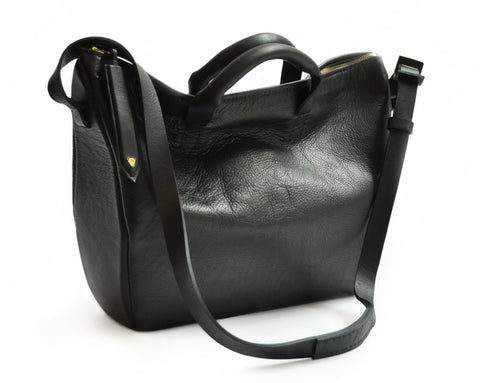 Mona Bag Wendy Nichol Handbag Purse Designer Handmade in NYC New York City Soft Slouchy Structured Dr. Doctor Trapeze Bowler Duffle Boss Lady Bag Cross Body Adjustable Strap Durable Handles Zip Zipper Interior Pocket bottom Sculptural Elegant Powerful Power Woman Women Female World Work Everyday black High Quality Leather Barneys Barney's