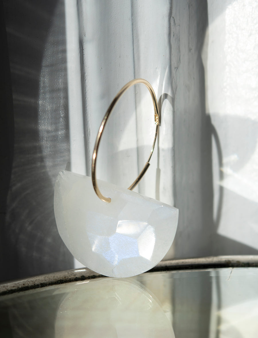Half Moon Faceted Moonstone on Hoop Earring