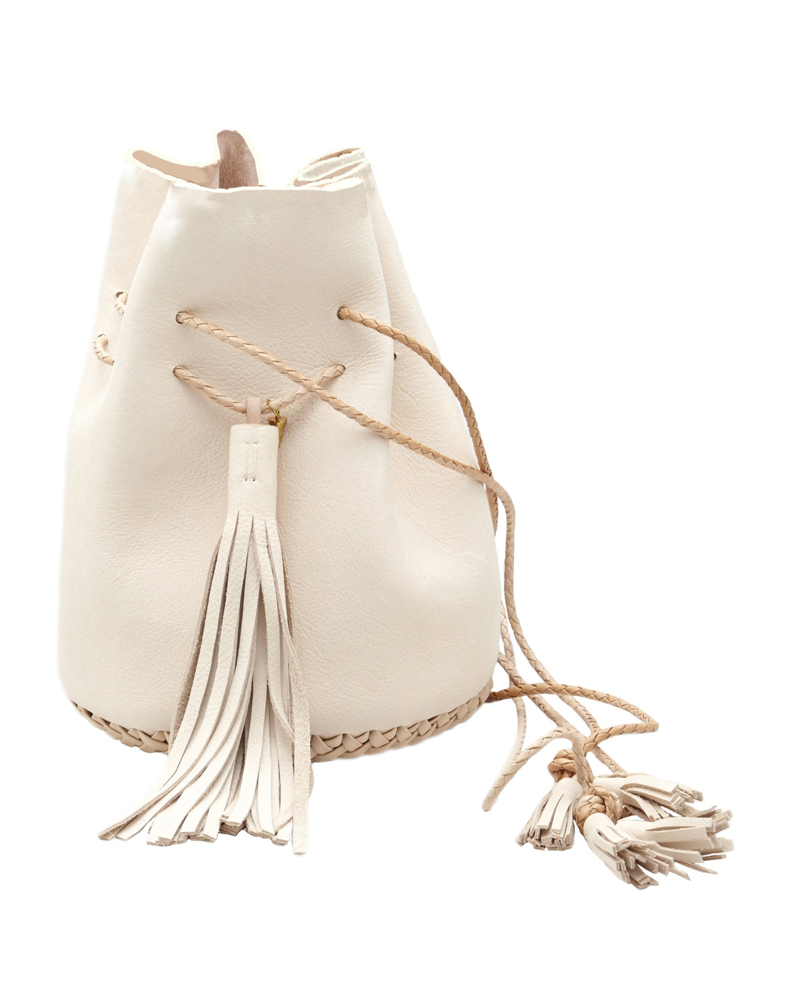 Natural Pink Tan Vegetable Tanned Leather Signature Classic Bullet Bag Wendy Nichol Handmade in NYC New York City Leather Drawstring Bucket Pouch Purse Handbag Large Fringe Tassel Custom Made to Order
