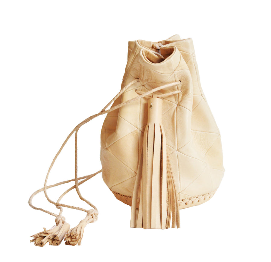 Natural Pink Vegetable Tanned No Dye Leather Triangle Patchwork Bullet Bag Wendy Nichol Leather Handbag Purse Designer Barneys Barney's Bucket Bag Handmade in NYC New York City High Quality leather Draw String Drawstring Pouch  Large Fringe Tassel Tassels
