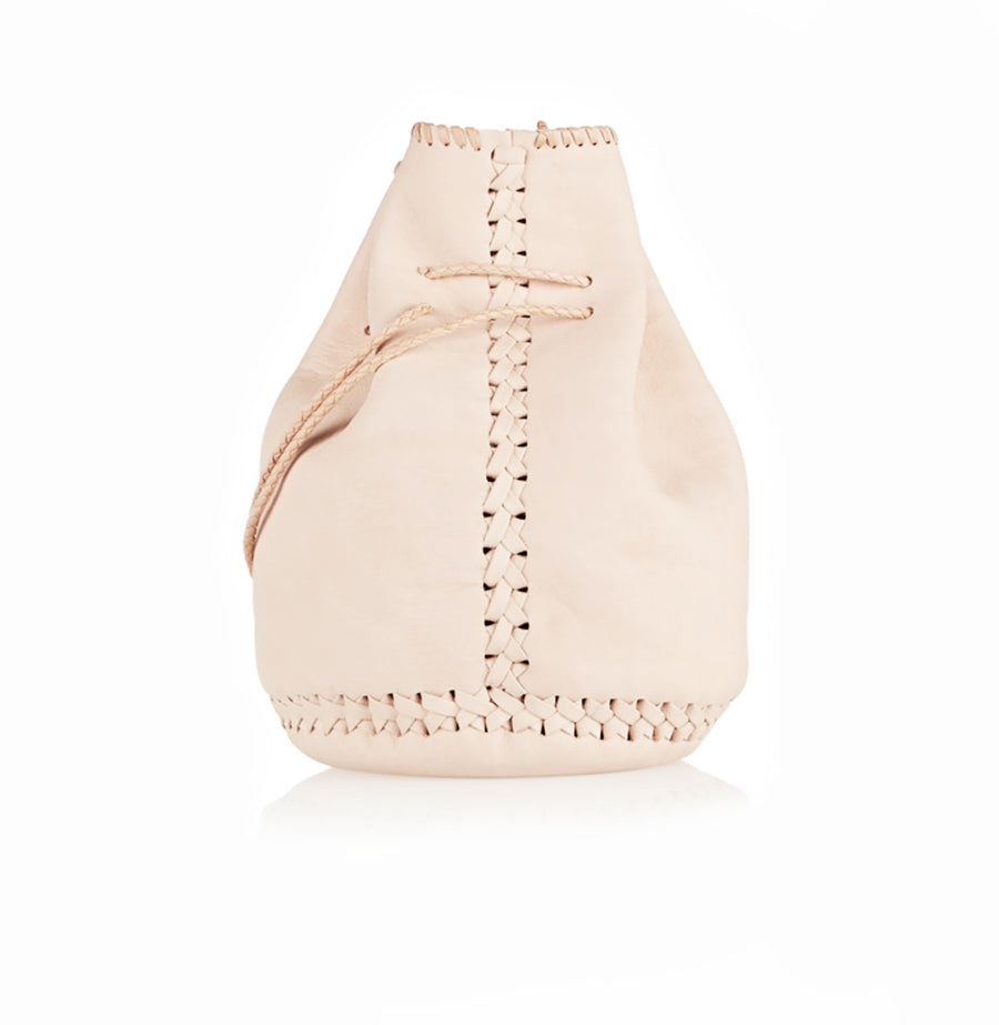 Natural Pink Leather Whipstitch Bullet Bag Wendy Nichol Designer Purse Handbag Handmade in NYC New York City Leather Fringe Tassel Drawstring Bucket Pouch Boho Handbag
