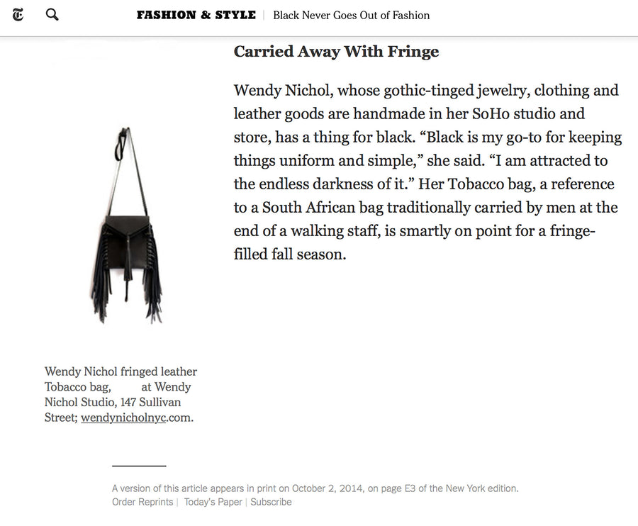 New York Times Fashion & Style Wendy Nichol Designer Tobacco Black Leather Fringe Handbag  Handmade in NYC Erica Blumenthal October 2014 Black Studded Tobacco Bag Wendy Nichol Handbag Purse Designer Handmade in NYC New York City Fringe Tassel Tassels Boho Cross Body Adjustable Braided Strap  Vertical Pouch High Quality Leather