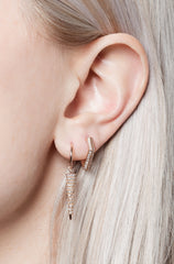 Wendy Nichol Earrings 92 White Black Diamonds Long Cone Spike Hoops Fine Jewelry Solid 14k Yellow Gold Rose Gold White Gold Handmade in NYC New York City Diamond Dagger Sword Spikes First Second Ear Piercing Lower Lobe Upper Lobe Snug Helix Cartilage dangle charm feminine delicate small hoops hoop earring