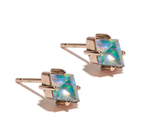Opal Kite Stud Earrings Wendy Nichol Fine Jewelry Designer Handmade in NYC New York City solid 14k Gold Rose Gold White Gold Yellow Gold Studs Simple Diamond Shape Triangle Piercing Upper Lobe Lower Lobe