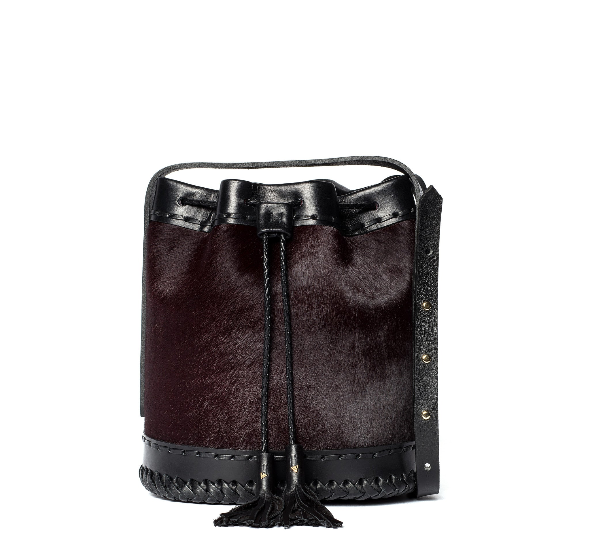 ox blood burgundy maroon black Leather cowhide Pony Cow Fur Small carriage Bag Wendy Nichol Luxury Handbag purse Designer handmade in NYC New York City bucket Drawstring Draw String Pouch Small fringe tassel Mini cross body adjustable durable strap High Quality Leather