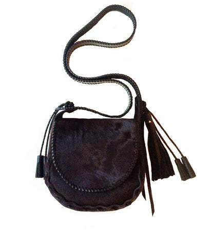 Ox Blood Pony Small Whipstitch Satchel Bag Wendy Nichol Handbag Purse Designer Handmade in NYC cow fur Burgundy Ox blood Maroon  Black Leather