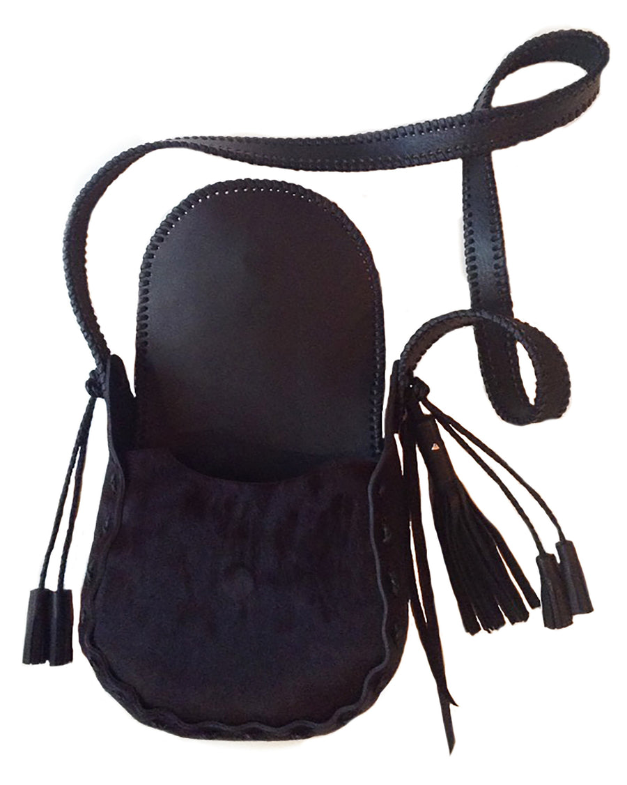 Ox Blood Pony Small Whipstitch Satchel Bag Wendy Nichol Luxury Handbag Purse Designer Handmade in NYC New York City Burgundy Ox blood Maroon Cow Fur Small Fringe Tassel Whipstitch Edge Flap Closure Durable Cross Body Strap Magnet Magnetic Interior Pocket Outside Pocket Classic Saddle Bag High Quality Black Leather