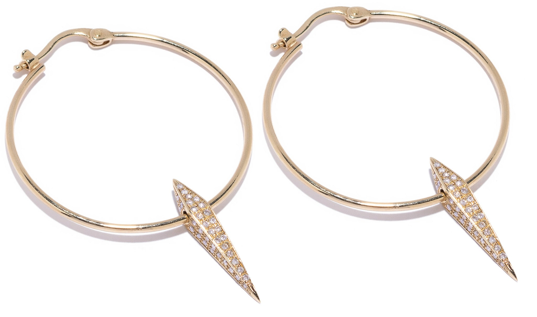 Micro Pave Diamond Large DT Pyramid Spike Large Hoop Earrings Wendy Nichol fine jewelry designer simple delicate Large Hoops solid 14k Gold Yellow Rose White Diamonds Handmade in NYC New York City Dangle Dagger Sword Hoops First Ear Hole Piercing Lower Lobe