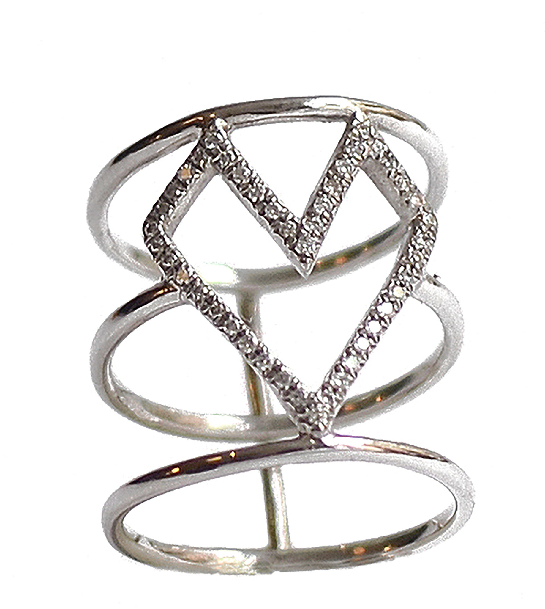 Micro Pave Diamonds Caged Gothic Heart Ring Wendy Nichol Fine Jewelry Designer solid 14k Gold