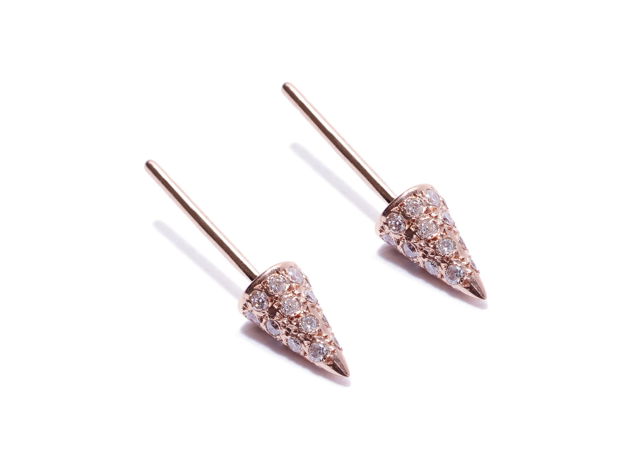 Micro Pave Diamonds Cone Spike Stud Earrings Wendy Nichol Fine Jewelry Designer 14k Gold Yellow Rose White Diamond Black Diamond Simple Delicate Punk Studs Handmade in NYC New York City First Second Third Ear piercing Lower Lobe upper lobe snug Helix Cartilage Tragus studs earrings