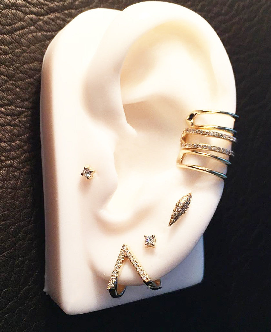 Micro Pave Diamonds DT Cone Spike Stud Earrings Wendy Nichol Fine Jewelry Designer solid 14k Gold White Diamonds Handmade in NYC New York City ornament studs First Second Ear Piercing Helix Cartilage Snug Upper Lobe Lower Lobe
