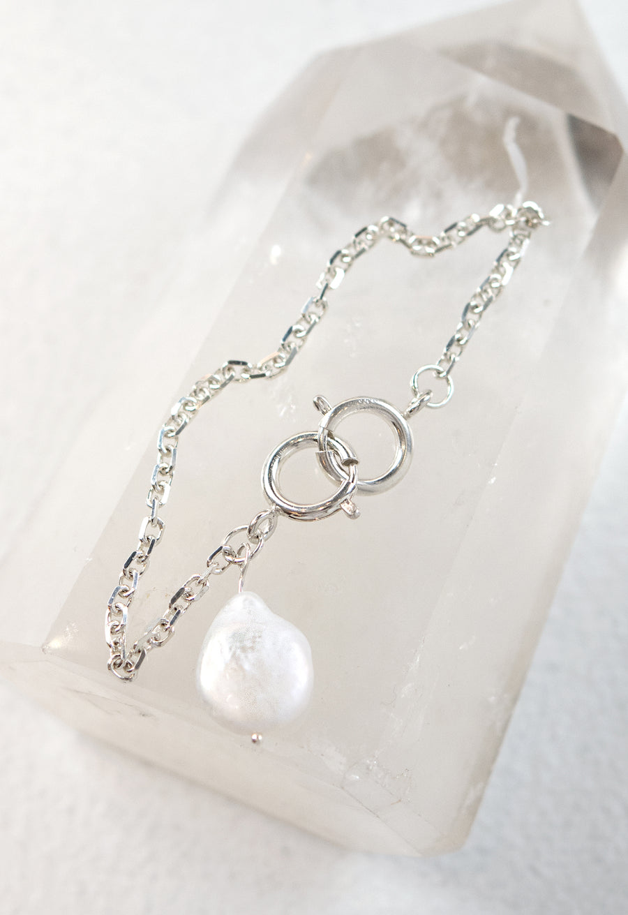 The Double Clasp Pearl Charm Bracelet