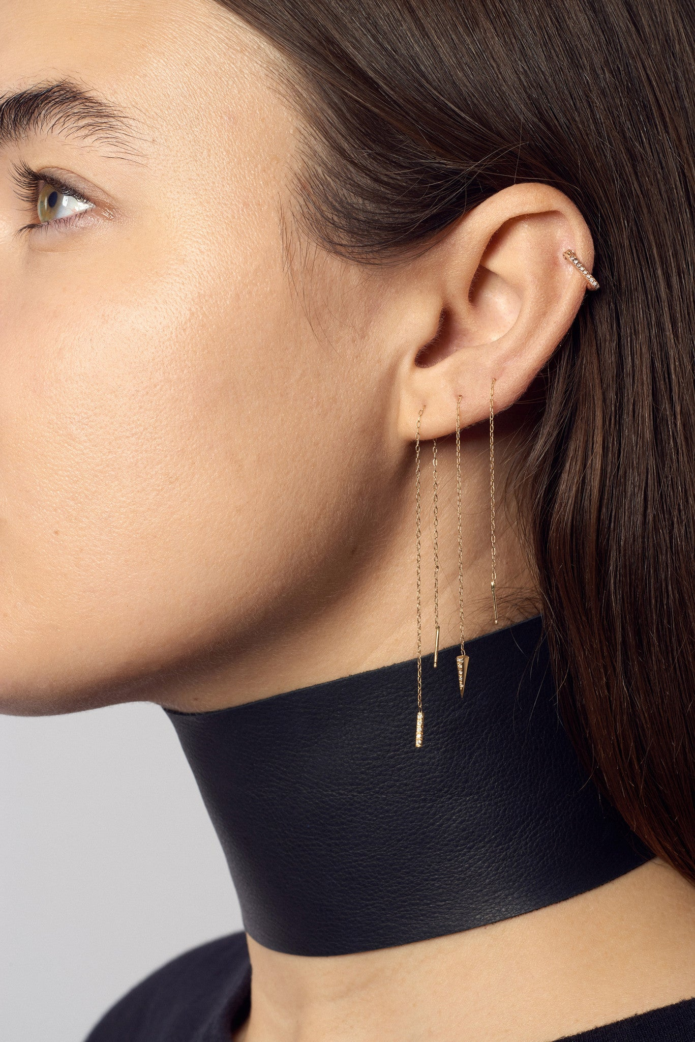 Micro Pave Diamonds Triangle Hoop Earrings Wendy Nichol fine jewelry designer 14k Gold Yellow Rose White Diamonds Black Diamonds V shape ear hugging simple delicate Hoops Handmade in NYC New York City First Second Ear Piercing Lower Lobe Upper Lobe Nose Single Individual Earring Diamond V Wrap