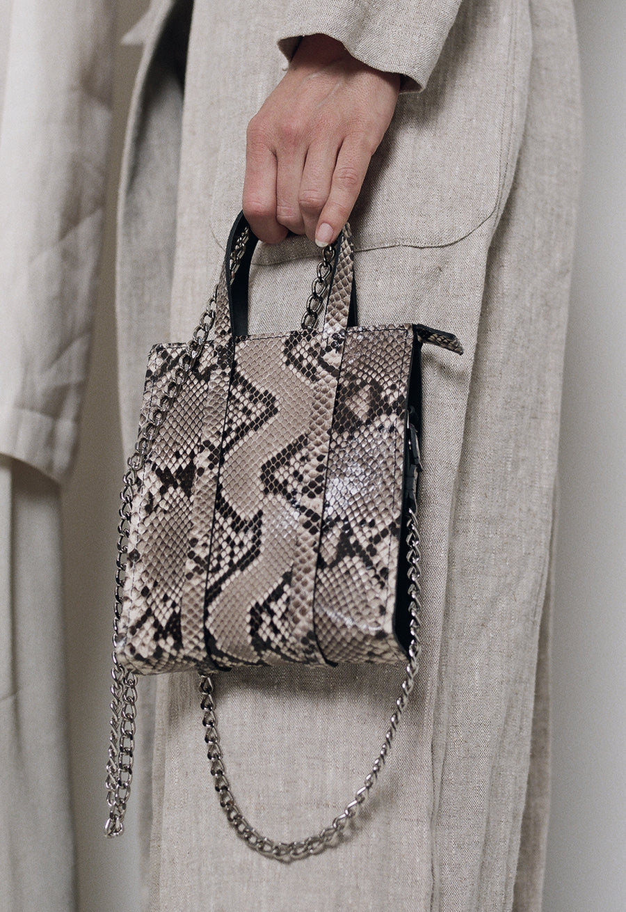 The Micro Classified Python Chain Tote