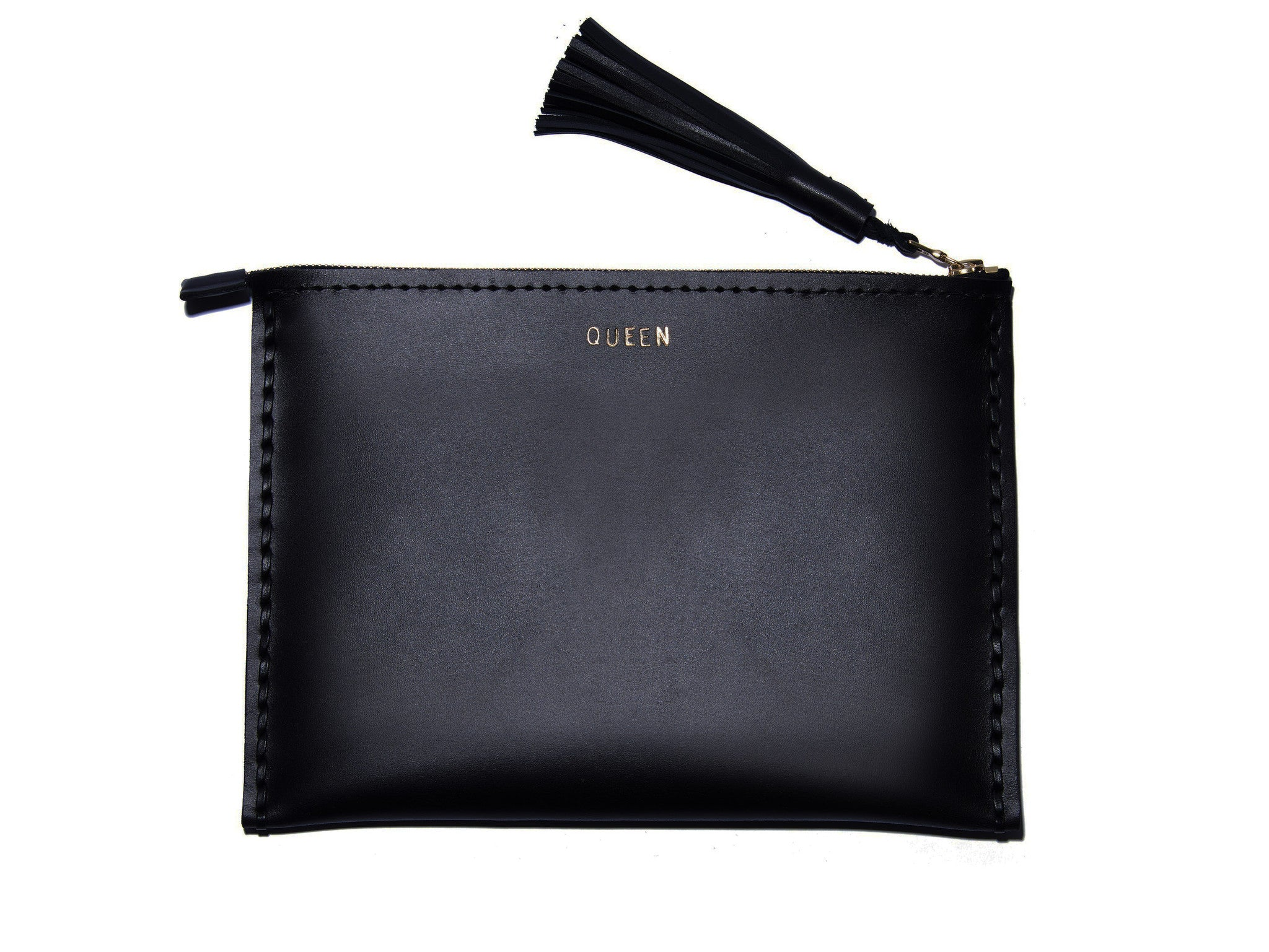 QUEEN Leather Medium Laced Clutch Pouch Custom Embossed Initial Letter Monogram Card Phone Wallet Clutch Wendy Nichol Designer Purse handbags Handmade in NYC New York City Zip Zipper Pouch Smooth Black High Quality Leather Fringe Tassel Gold Silver Foil