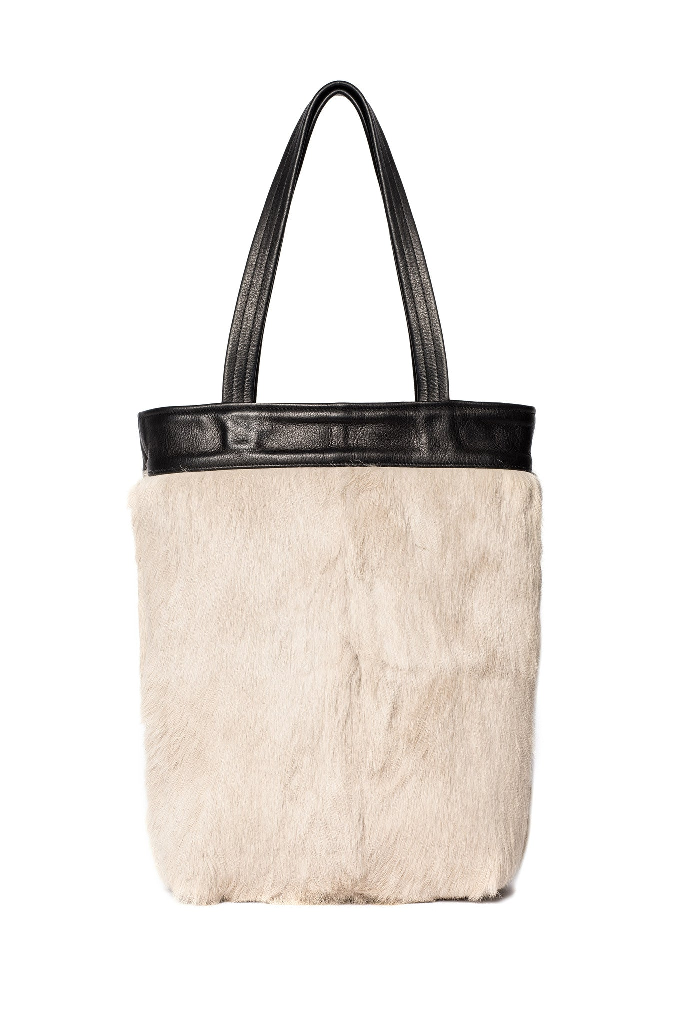 Cream Off White One-of-a-Kind Black Rabbit Fur Tote Black Leather Wendy Nichol Luxury Handbag Purse Bag Designer handmade in NYC New York City one of a kind Durable Handle strap Interior Pocket High Quality Leather