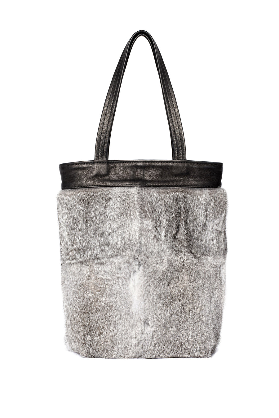 Gray Grey One of a Kind Rabbit Fur Tote Black Leather Wendy Nichol Luxury Handbag Purse Bag Designer handmade in NYC New York City one of a kind Durable Handle strap Interior Pocket High Quality Leather