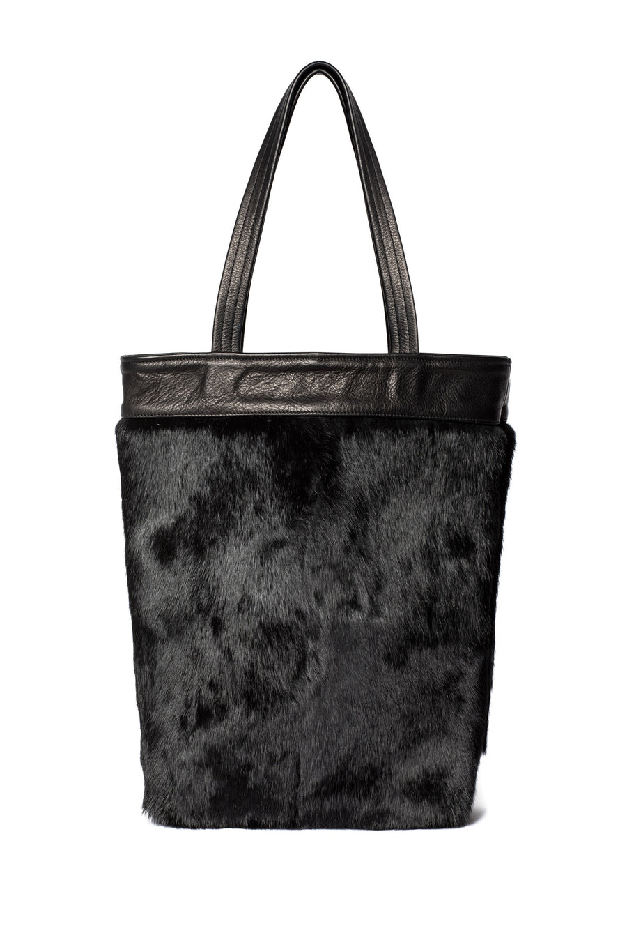 One-of-a-Kind Black Rabbit Fur Tote Black Leather Wendy Nichol Luxury Handbag Purse Bag Designer handmade in NYC New York City one of a kind Durable Handle strap Interior Pocket High Quality Leather