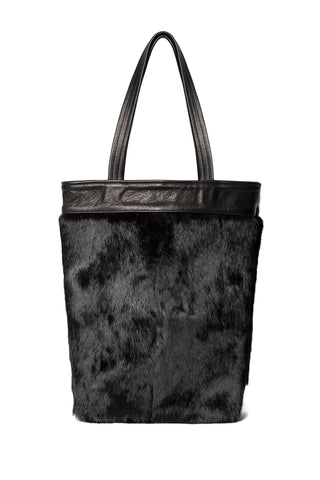 One-of-a-Kind Black Rabbit Fur Tote Cowhide Leather Wendy Nichol Luxury Handbag Bag Purse Designer Handmade in NYC