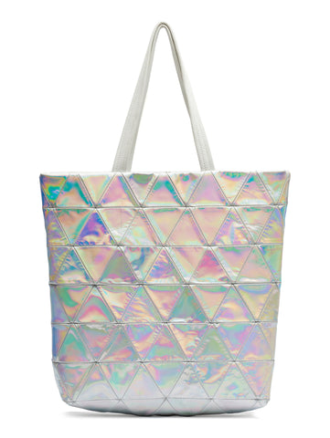 Reflective Shiny Mirror Patent Leather Triangle Patchwork Tote Wendy Nichol Designer Handbag Purse Tote Handmade in NYC New York City Strong durable Handle interior pocket Triangles High Quality Leather Silver Rainbow Metallic Holographic