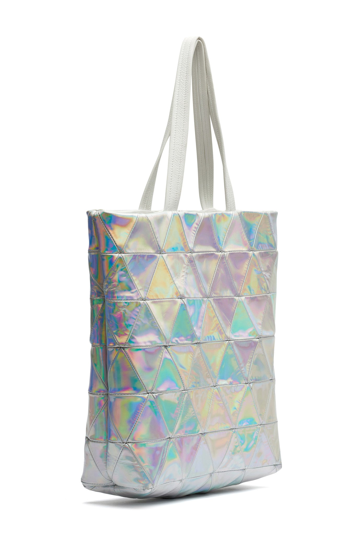 Metallic Rainbow Silver Triangle Patchwork Patent Leather Tote Wendy Nichol Handbag Purse Designer Handmade in NYC