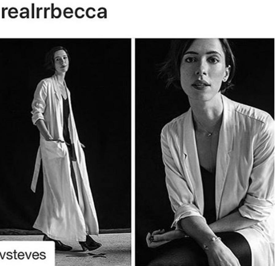 Rebecca Hall Signature white Silk Duster Robe kimono jacket coat pockets Wendy Nichol clothing Fashion Designer Handmade in NYC New york city Custom made to measure tailoring tailor silk PJs wedding bride bridal Night of wedding over coat