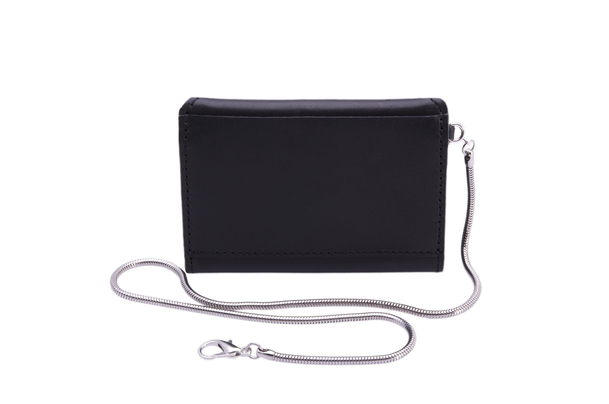 Small Leather Envelope Card Wallet on Safety Key Thin Snake Chain Wendy Nichol Black Leather Handmade in NYC New York City Card Holder Simple Pocket Belt loop High Quality Smooth Black Leather