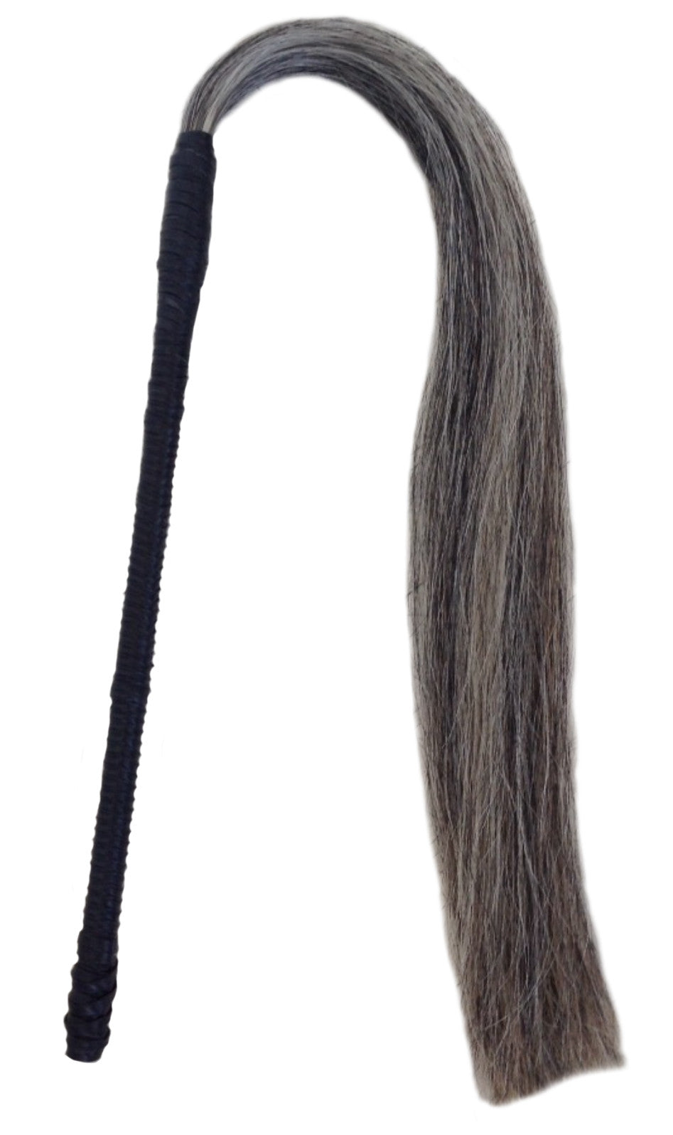 Horse Hair Whip Wendy Nichol Leather Designer Handmade in NYC New York City Dominatrix Bondage S&M Whip Leather Wrap Braided Magician Witch Wand Hair Broom Salt and Pepper Gray Grey Hair Brunette Brown Hair Red Redhead Blonde White Hair Head