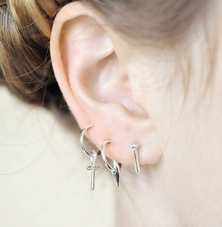 DT Cone Spike Charm Hoop Earrings Wendy Nichol fine jewelry designer 14k Gold Sterling Silver Simple Delicate Hoops