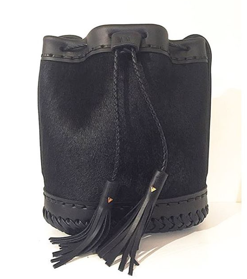 black Leather cowhide Pony Cow Fur Small carriage Bag Wendy Nichol Luxury Handbag purse Designer handmade in NYC New York City bucket Drawstring Draw String Pouch Small fringe tassel Mini cross body adjustable durable strap High Quality Leather