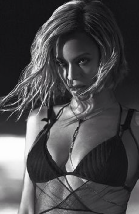 Wendy Nichol Beyonce Drunk in Love video Black Sheer Net Dress on the Beach