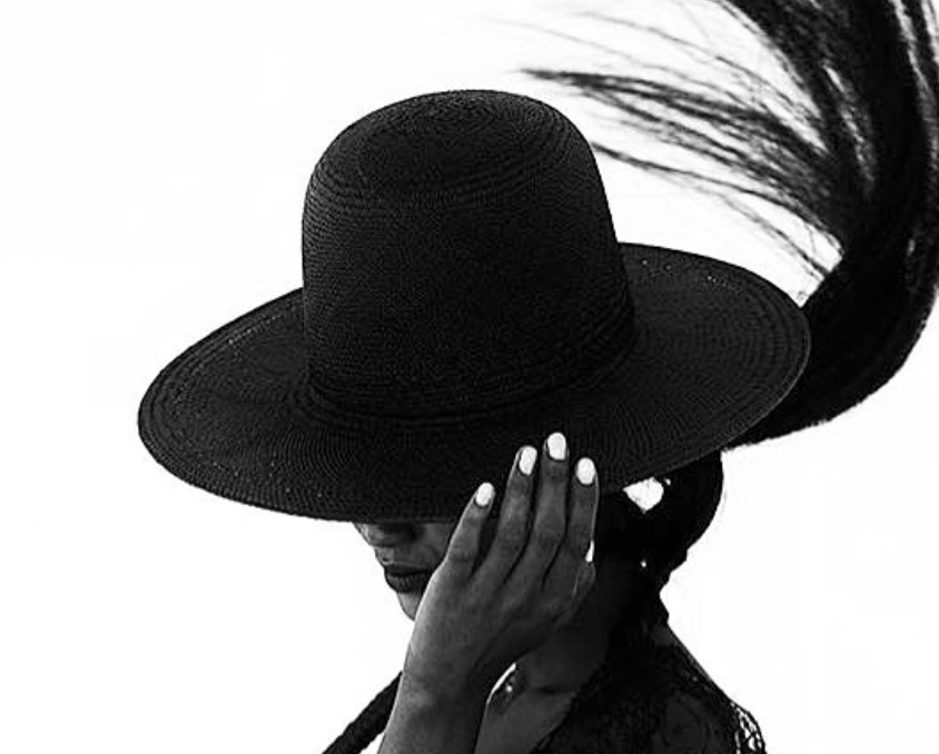 Black Straw Tall Wide Brim Hat Wendy Nichol Designer Handmade in NYC New York City Witch El Topo Magician Summer Hat Fatima IMG Model Beyonce Formation Hat