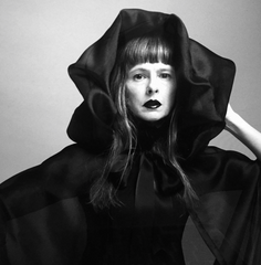Model Witch Vittoria Cerciello Stylist Dario Catellani Revue Magazine Wendy Nichol Clothing Designer Fashion Show Runway 13 Incarnations Autumn Winter 2016 AW16  Handmade in NYC custom tailoring  Ghost Edwardian Black Sheer Organza Hooded Hood Cape Satin Bow Red Carpet Victorian