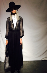 Gisele Oliveria IMG model fashion Runway show Wendy Nichol AW15 Queen of Thieves witch Sheer Black Deep V Inset Lace Dress Coat White High Collar Button Shirt Gray Grey Hair Wide Brim Whipstitch Witch Hat Rabbit Fur Tote Custom Tailoring Color Fabric Made to Measure Order Handmade in NYC