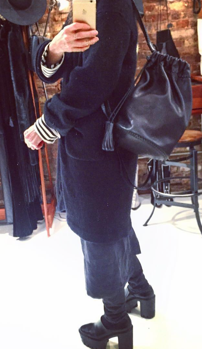Small Braided Knapsack Backpack Wendy Nichol Handbags Handmade in NYC Black