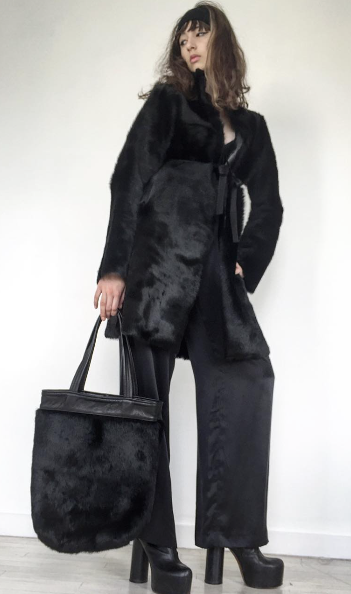 The Creator Jung Black Leather Edwardian Collar Shearling Fur Coat  Wendy Nichol Clothing Fashion Designer Handmade in NYC AW14 Ready to Wear Fashion Runway Show Custom Tailoring Made to Measure