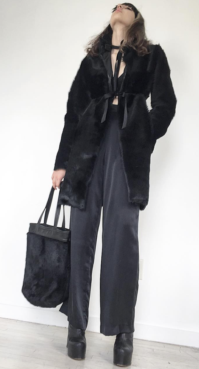 The Creator Jung Black Leather Edwardian Collar detachable Shearling Fur Coat  Wendy Nichol Clothing Fashion Designer Handmade in NYC New York City AW14 Ready to Wear Fashion Runway Show Custom Tailoring Made to Measure made to Order