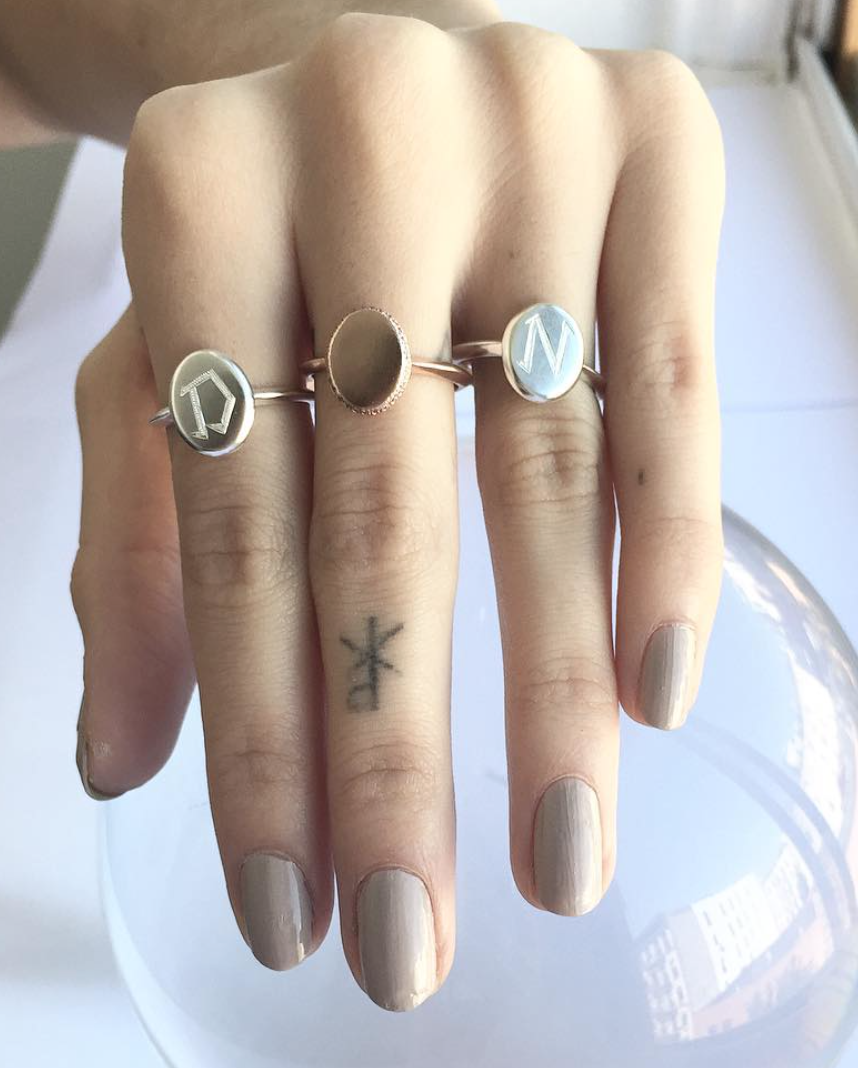 Engraved Initial Monogram Oval Shape Ring Wendy Nichol Fine Jewelry Designer 14k Gold Sterling Silver