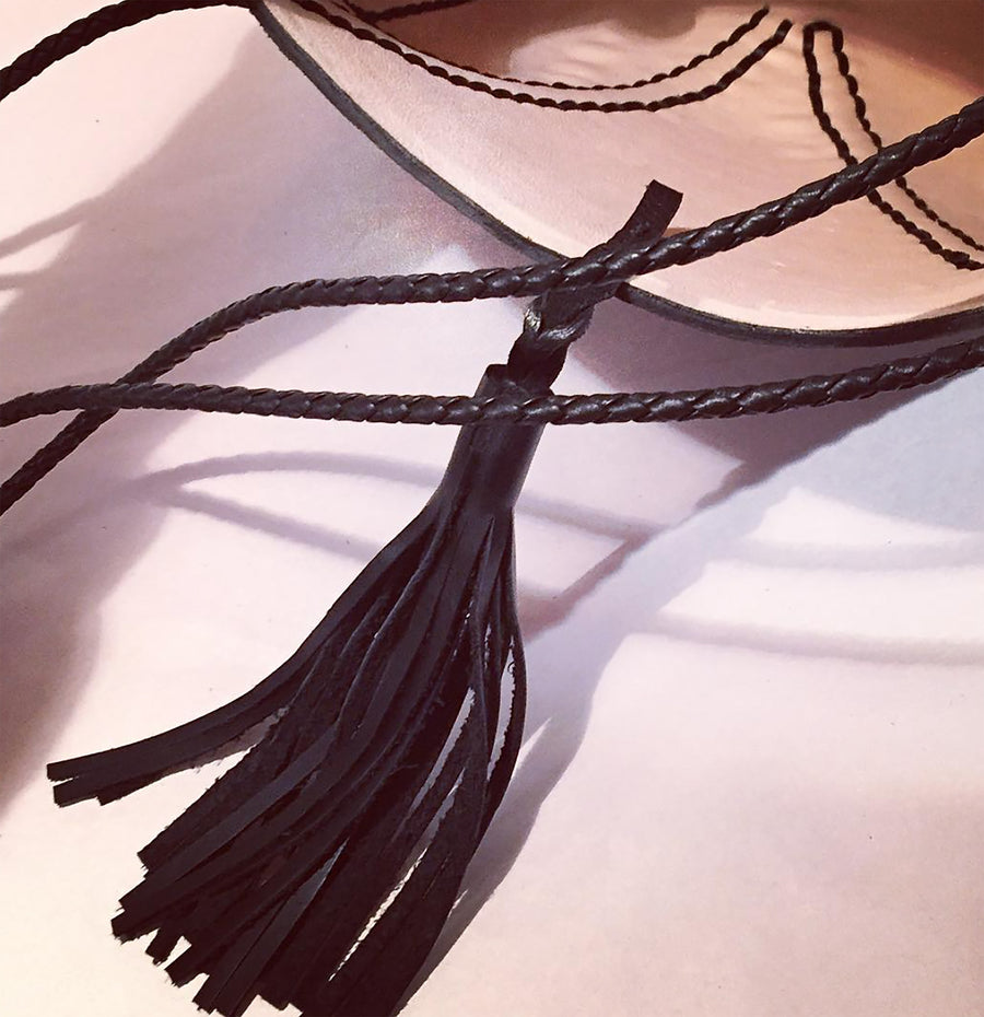 Black Leather Braided V Bag Wendy Nichol Handbag Purse Designer Handmade in NYC New York City high quality Leather cross body purse Large Fringe Tassel tassels sculpture Triangle V Cross body braided straps Natural Pink Tan Leather