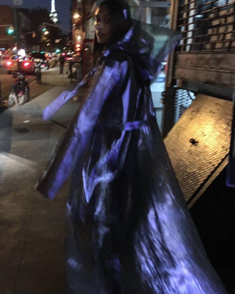 Tarsha Orsman IMG model Wendy Nichol New York Clothing Designer Handmade in NYC New York City SS17 Fashion Runway Show Signals to the Mothership Made to Order Custom Tailoring Made to Measure Death Valley Hooded Psychedelic Coat Sheer Transparent Silk Holographic Purple Blue Silver Belle Sleeve Hood Cape Jacket Cloak Long Train Witch Wizard Alien UFO Total Drone