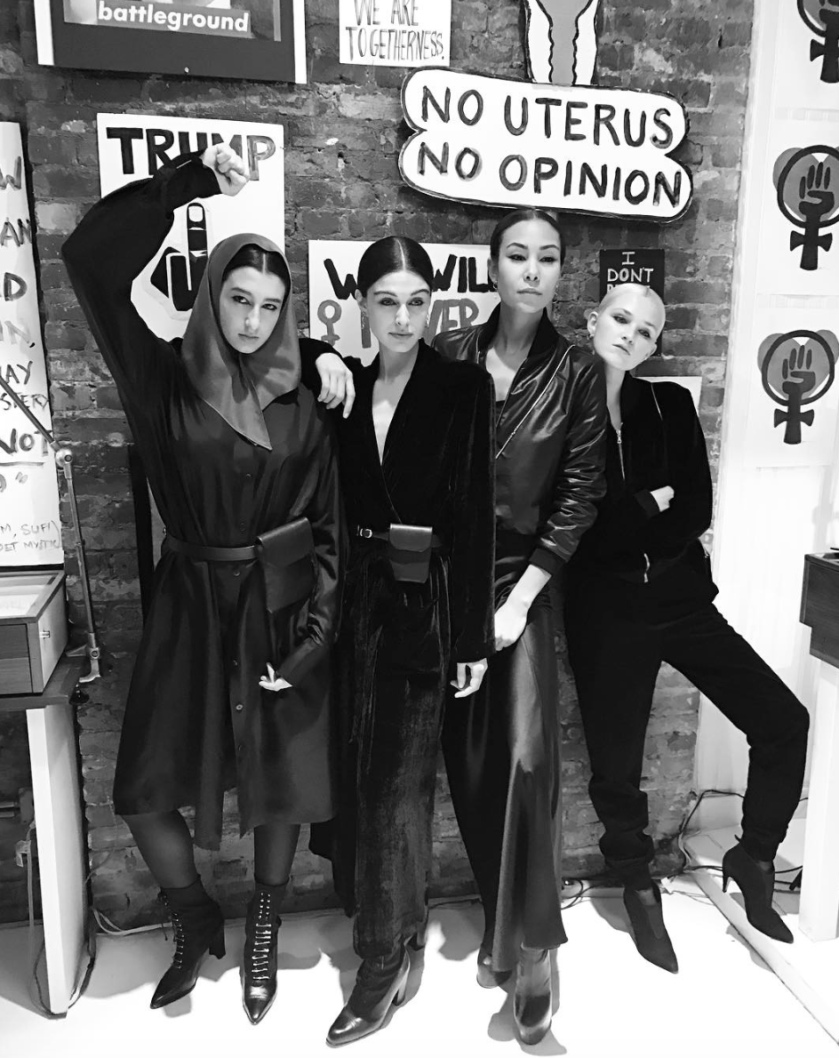 Mariah IMG Model Wendy Nichol AW17 Clothing Fashion Anti Fascist Runway Show Dear America Handmade in NYC Black Silk Velvet Duster Robe Protest I AM