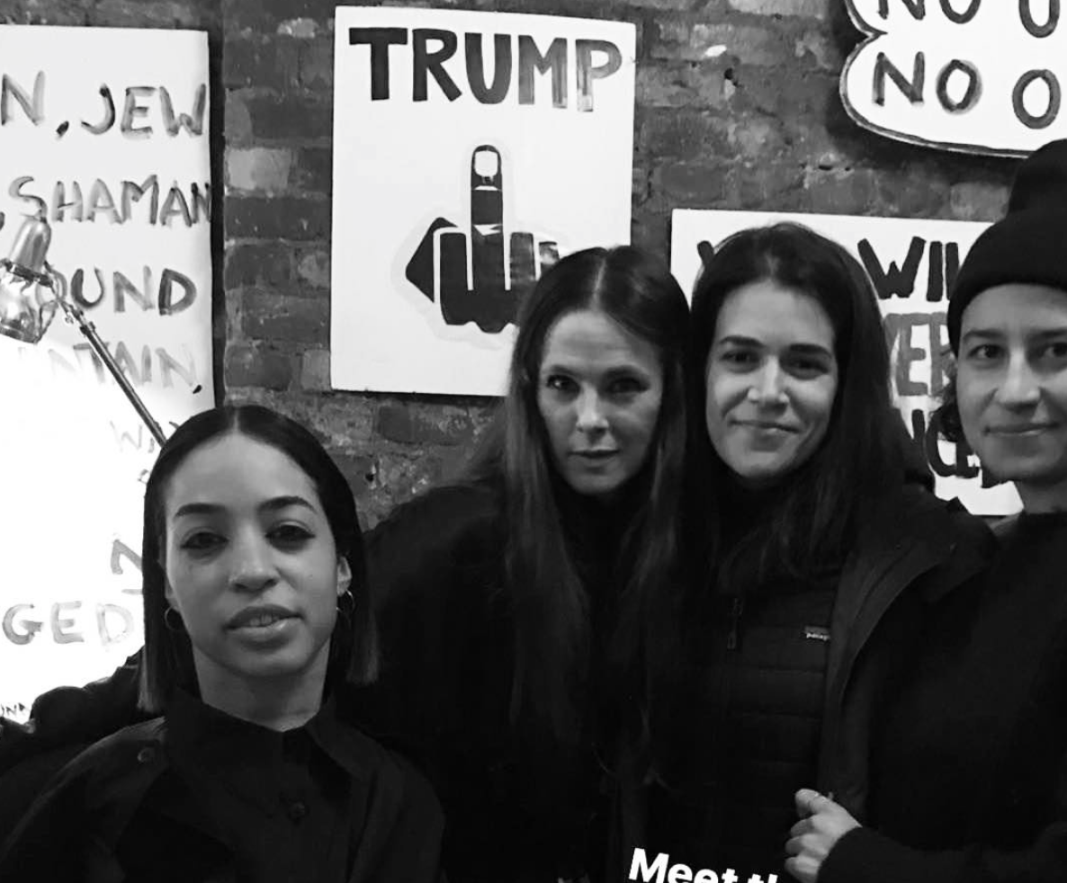 Broad City Ilana Glazer Abbi Jacobson Jillian Mercado IMG Model Wendy Nichol AW17 Clothing Fashion Anti Fascist Runway Show Dear America Handmade in NYC New York City Protest I AM Custom Made to order made to measure Long Sleeve Silk Shirt Dress Shell Buttons