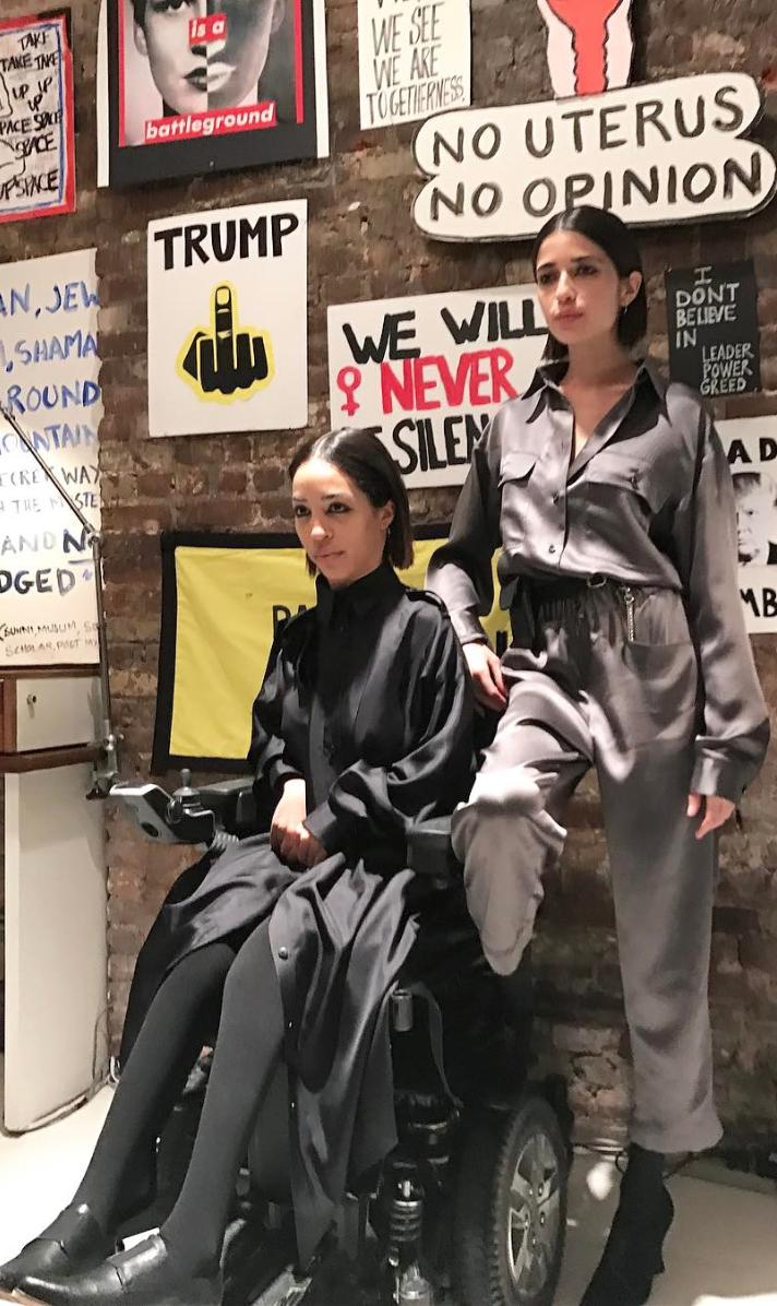 Jillian Mercado IMG Model Wendy Nichol AW17 Clothing Fashion Anti Fascist Runway Show Dear America Handmade in NYC New York City Protest I AM Custom Made to order made to measure Long Sleeve Silk Shirt Dress Shell Buttons